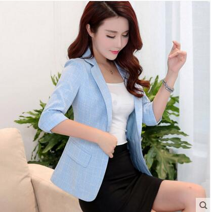 Plaid Small Suit Female Short Jacket Seven Point Sleeves 2018 Spring