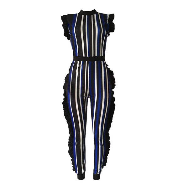 Plus Size 3XL Striped Jumpsuit for Women 2018 Bodycon Rompers Ruffle Playsuit Tracksuit Sleeveless Bodysuits female dungarees