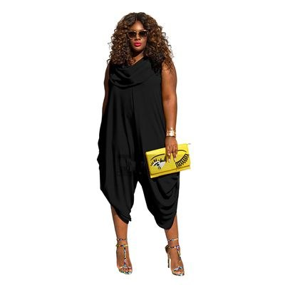 Plus Size 4XL 5XL Solid Jumpsuits For Women 2020 Sleeveless Summer Sexy Rompers Womens Jumpsuit Fashion Office Lady Bodysuit