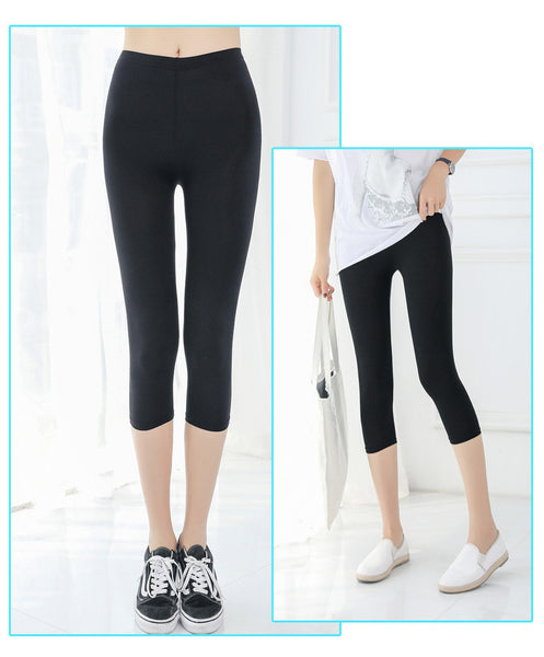 Plus Size 5XL Women Elasticity Leggings Summer Solid Thin Mid-Calf Legging Pants Casual Women's Capri Leggins Fitness Leggings