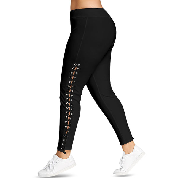Plus Size Lace Up Grommet Leggings 2018 Skinny Leggins Women Pencil Pants Trouser Black White Leggings Big Size 5XL Pantalones