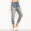 Blue Distressed Ripped Embroidered Patch Jeans Women Casual Ankle Denim Pants Fall Button Fly Cropped Mid Waist Jeans