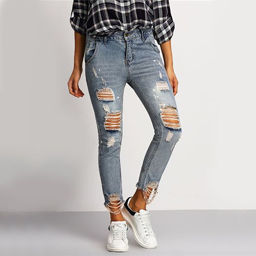Distressed Skinny Blue Jeans Women Casual Ripped Ankle Denim Pants Fall 2020 Fashion Button Fly Cropped Mid Waist Jeans