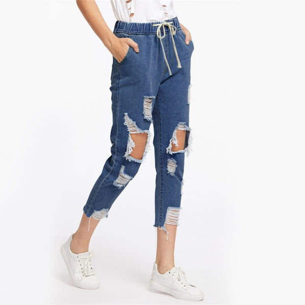 Drawstring Waist Ripped Jeans For Women Blue Extreme Destroyed Casual Crop Denim Pants Fall Tapered Jeans