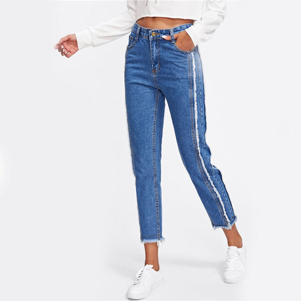 Frayed Trim Mid Waist Tapered Jeans Women Blue Casual Denim Cropped Pants 2020 Autumn Zipper Fly Straight Jeans
