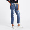 Ripped Cuffed Women Blue Jeans Fashion 2020 Spring Casual Pockets Mid Waist Denim Pants Drawstring Rolled Up Crop Jeans