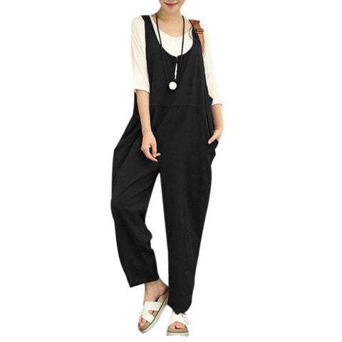 Casual Rompers Womens Jumpsuits Fashion Womens Loose Strapless Playsuits Oversized Casual Dungaree Harem Bodysuits