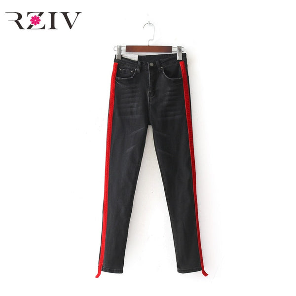 jeans woman casual stretch denim solid color stitching waist black jeans and skinny jeans trouser