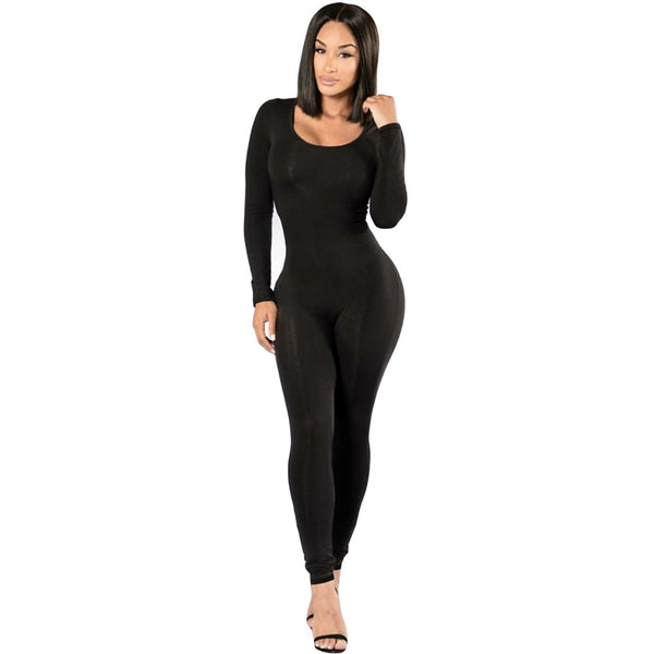 Rompers Womens jumpsuit New 2018 Winter Skinny Long Sleeve Full Length Black O-neck Sexy Club Black Bodycon jumpsuits Overalls