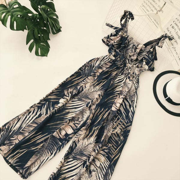Ruffle Leaf print sexy lace up jumpsuits Boho green sleeveless rompers women jumpsuit 2020 Beach chiffon summer jumpsuit