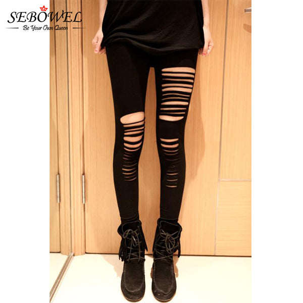 2018 Good Stretch Basic Holes Ripped Leggings Women Punk Rock Fashion Black High Waist Leggings Casual Jeggings Legins
