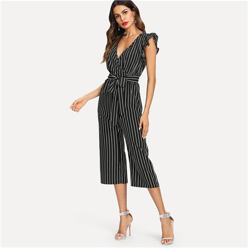 Black and White Elegant Vertical Stripe Ruffle Detail Wrap Deep V Neck Belted Jumpsuit Summer Women Workwear Jumpsuit