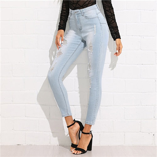 Bleach Wash Ripped Jeans 2020 Summer Blue Mid Waist Crop Pocket Jeans Women Ripped Denim Casual Pants
