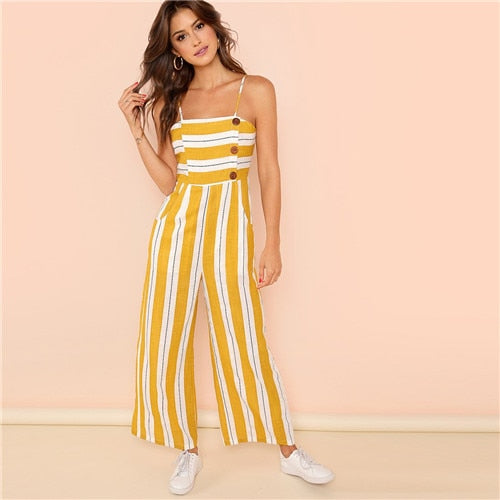 Hedendaags Ginger Striped Wide Leg High Waist Casual Cami Jumpsuit Office SX-93