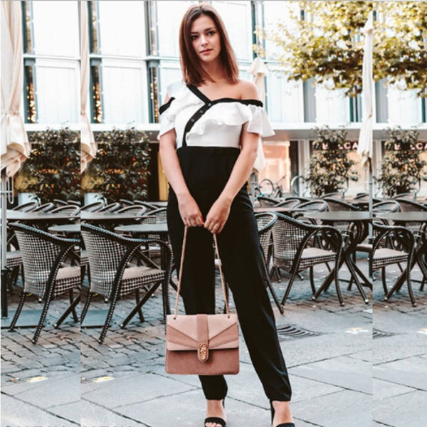 Jumpsuits For Women Black and White Two Tone Flounce Asymmetric Shoulder Tailored Spring Autumn Long Sleeve Jumpsuit