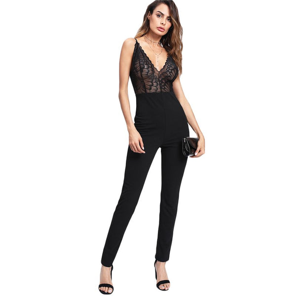 Jumpsuits for Women Sexy Womens Clothing Sleeveless High Waist Deep V Neck Contrast Lace Tailored Cami Jumpsuit