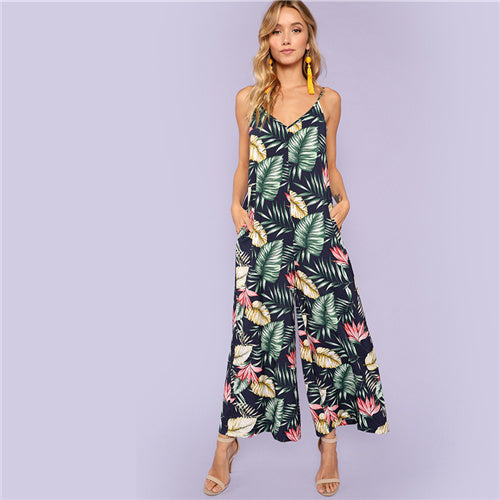 Multicolor Vacation Bohemian Beach Backless Jungle Leaf Print Cami Mid Waist Jumpsuit Summer Women Weekend Casual Jumpsuit