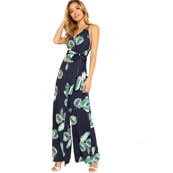 Tropical Print Wide Leg Cami Jumpsuit 2020 Women V Neck Spaghetti Strap Sleeveless High Waist Belted Vacation Jumpsuit