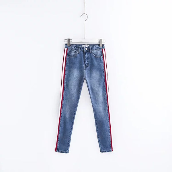 Sexy Stretch Skinny Jeans Chic Women High waist Side Stripe Jeans Female Denim Pencil Pants Trousers