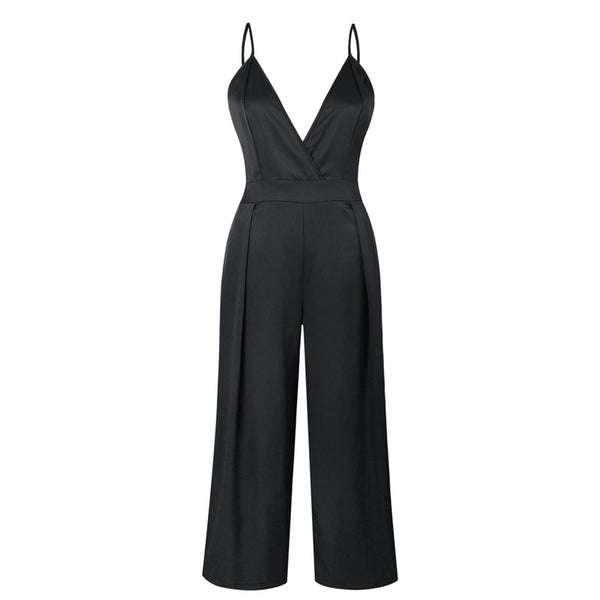 Sexy V Neck Backless Strap Jumpsuit Women Summer 2020 Casual Loose Long Overalls for Women Orange Romper Bodysuit Pants with Bow