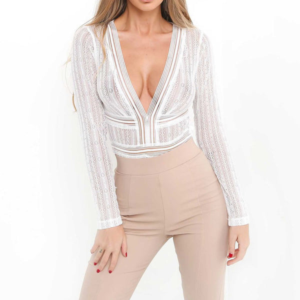 Sexy Women Ladies V Neck Lace Mesh Blouse Tops Body Suits Backless Hollow Out Skinny 2018 Party Club Wear Tee Shirts blusa mujer