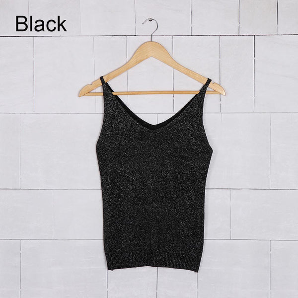 4a73baa565280 Sexy Women Lady Colorful giltter Knitted Tank Tops Camisole Gold Thread Top  Vest Sequined Stretchable Slim