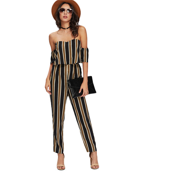 Flounce Layered Neck Striped Jumpsuit 2020 Off The Shoulder Short Sleeve Sexy Jumpsuit Women Elegant Party Jumpsuit