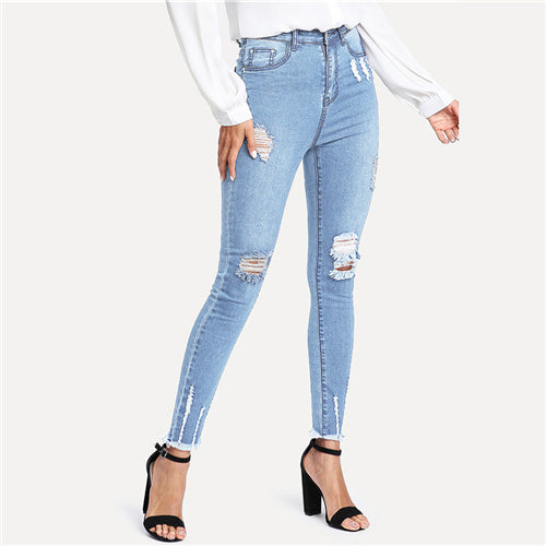 Frayed Hem Ripped Jeans 2020 Summer Spring Mid Waist Button Fly Stretchy Pants Women Blue Denim Casual Jeans
