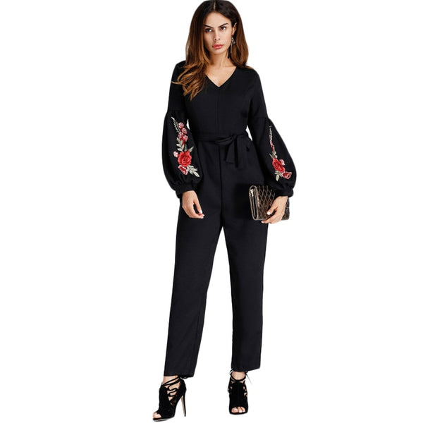 Lantern Sleeve Embroidered Rose Applique Jumpsuit With Belt 2020 Women V neck Long Sleeve Elegant Work Jumpsuit