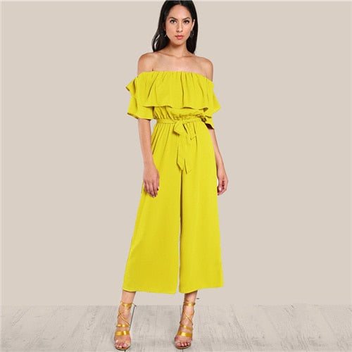 Ruffle Off Shoulder Wide Leg Beach Jumpsuit Self Tie Belted High Waist Jumpsuit Women Summer Yellow Elegant Jumpsuit