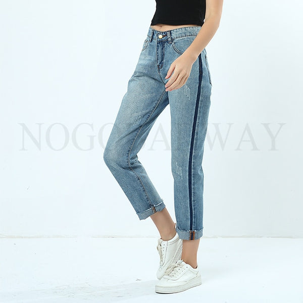 Side Stripe Boyfriend Jeans For Women Autumn Summer Straight Denim Pants Woman Casual Fashion Washed Blue Trousers Ladies Bottom