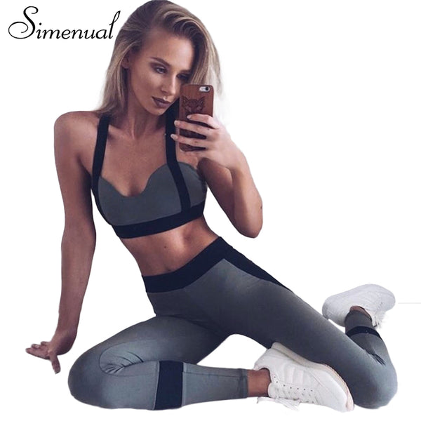 Push up athleisure tracksuit women sportswear patchwork fitness 2pcs leggings and bras elastic sexy summer tracksuits