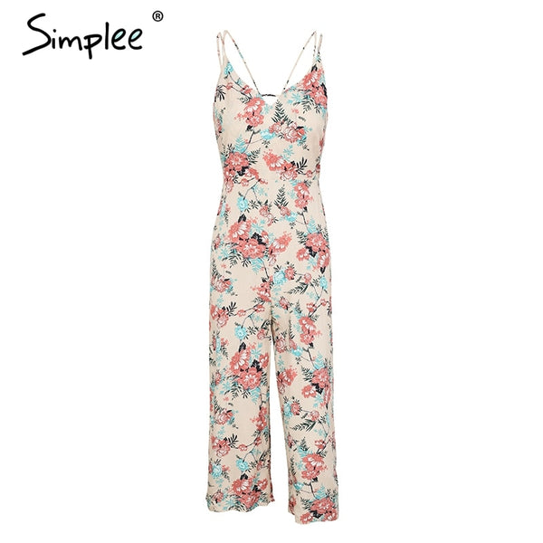 Sexy strap floral print boho jumpsuit women V neck zipper loose jumpsuit romper 2020 Summer casual beach playsuit