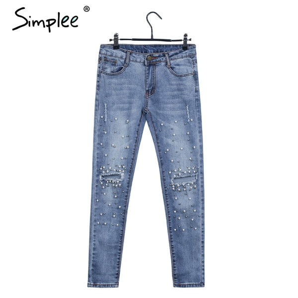 Streetwear pearl hole jeans female Casual pocket skinny pencil jean pants Destroyed ripped denim jean women trousers