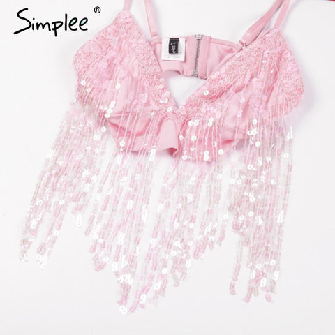 V neck backless camisole tank top Sexy tassels sequins crop top women tops Sexy party short pink cami sweater
