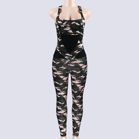 Skinny Jumpsuits Women Spaghtti Strap Bodysuits Backless Waist Pants Women Camouflage Sheath Bodysuits