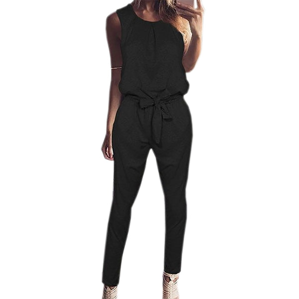 Sleeveless Lace-up Plus Size Jumpsuit Sexy Long Solid Playsuit Autumn Women Casual Jumpsuits Female Overalls for Woman GV830