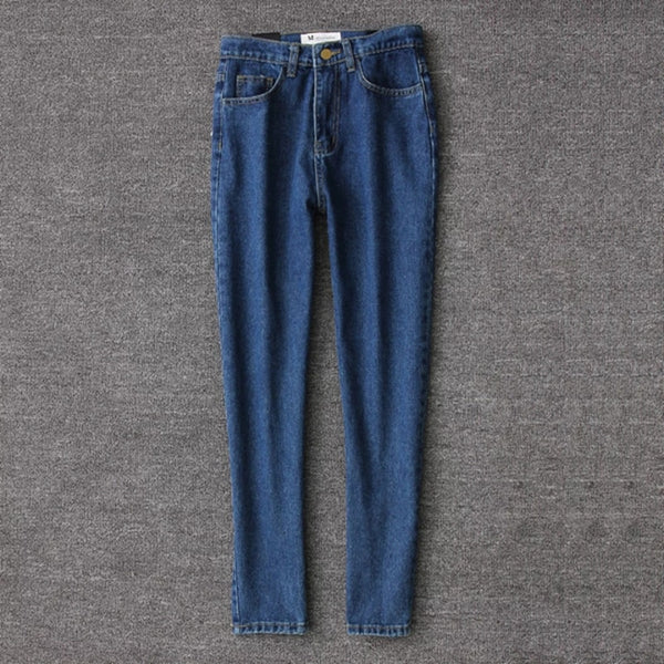 Spring 2020 retro women pencil denim pants blue high waist jeans woman casual vintage boyfriend mom jeans korean fashion