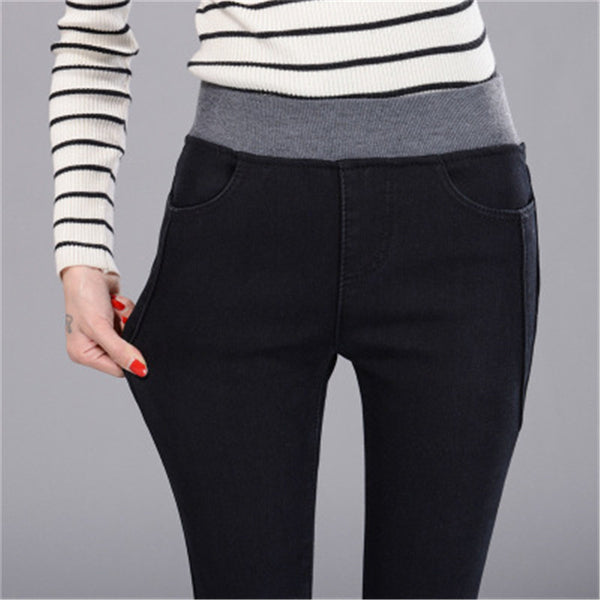 Spring Autumn New lady casual jeans blue black Cotton spinning Denim Patchwork Elastic band Tight waist slim pockets long Pants