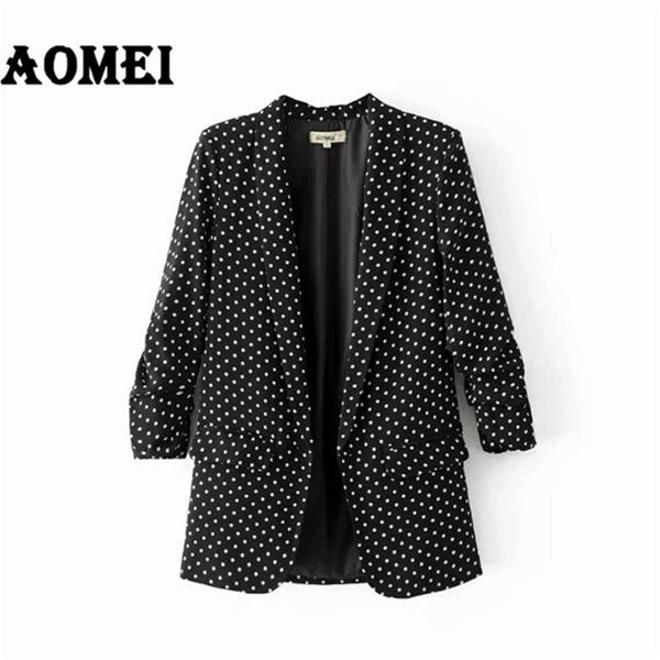 Spring Women Blazer Casual Fashion Suit Polka Dot Wear to Work Office Ladies Clothing Fall New with One Button Design Blasers