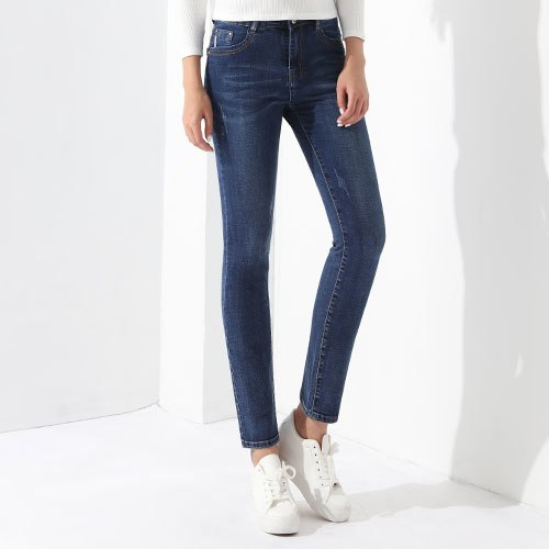 Stretch Denim Pants Ladies Casual Jeans Pantaloni Donna Women Trousers Slim Female Clothing Blue Jeans Middle-Waisted GAREMAY
