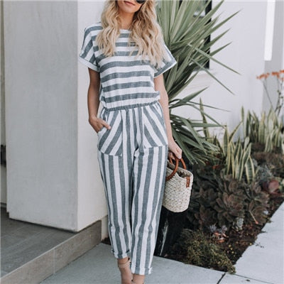 Striped printed rompers women jumpsuits Casual loose jumpsuit with pocket 2020 Summer new high waist playsuits overalls feminino
