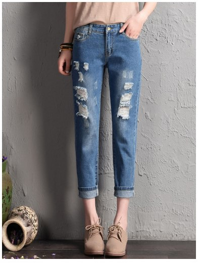 Summer 2020 Ladies Boyfriend Jeans For Women Female Elastic High Waist Mom Ripped Jeans Woman Pants Denim Jean Femme Trousers
