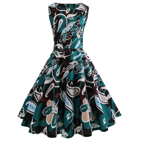 b81a12e05a9 Summer Dress Women Retro Floral Print 50s 60s Vintage Dress With Belt  Sleeveless Elegant Party Dresses