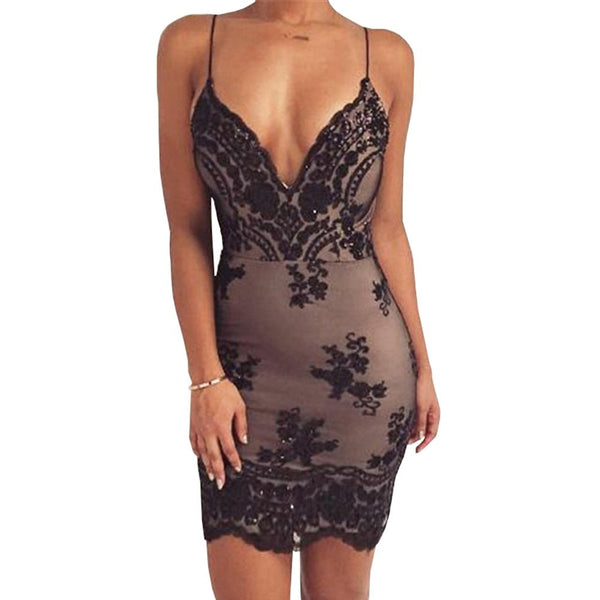 Summer Women Dresses Lady Gold Black Backless Sexy Vestidos Deep V Neck Sequin Party Dress Harness New Arrival Short Dress