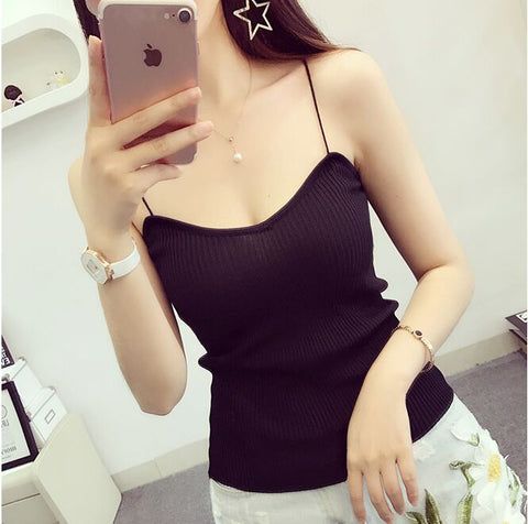 Summer Women Fashion Slim Knitting Tank Tops Camises Girls Knitted Basic Knitwear Camisole Sleeveless Sweater Tee shirts Camis