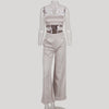 Summer Women Two Piece Outfits Pants Set Rompers Jumpsuit Long Pants 2 Piece Set Sleeveless Crop Tops + Loose pants romper
