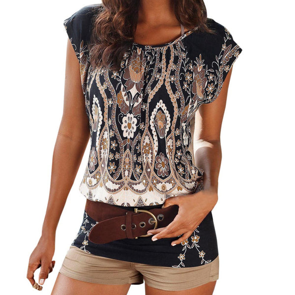 Summer Womens Tops and Blouses Retro Print Tops O Neck Sexy Short Sleeve Tee Shirt Ladies Long Top Clothes Women