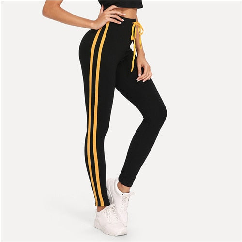 c98defc885a19 Black Contrast Tape Side Leggings Striped Drawstring Crop Leggings Women  Stretchy Sporting Athleisure Leggings