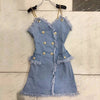 Denim Mini Dress V Neck Off Shoulder Double Breasted Bodycon Spaghetti Strap Dresses Female Summer Fashion Sexy New